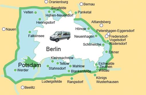 Karte Abholservice in Berlin und Umgebung